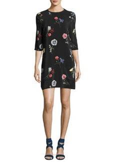 Equipment Aubrey Floral-Print Silk 3/4-Sleeve Shift Dress