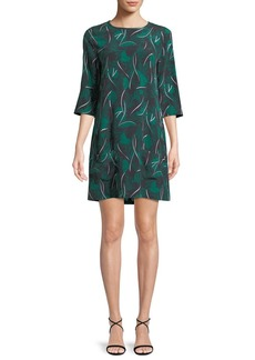 Equipment Aubrey Palm Leaf-Print 3/4-Sleeve Silk Dress
