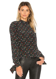 Equipment Aurora Mock Neck Blouse in Black. - size L (also in M,S,XS)