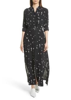 Equipment Bird Print Silk Maxi Dress