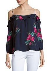 Joie Birtha Floral-Print Cold-Shoulder Silk Top