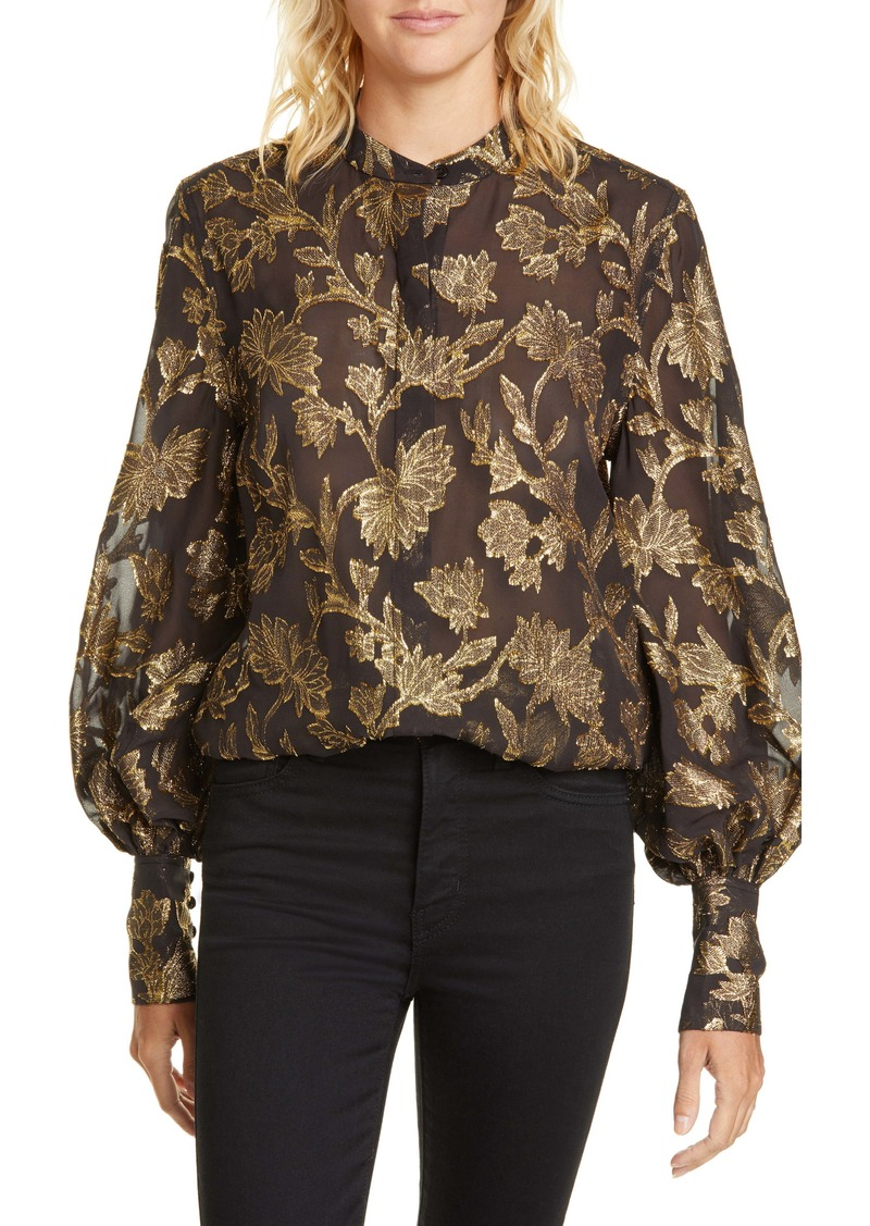 Equipment Boleyn Metallic Jacquard Silk Blouse