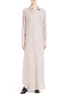 Equipment Brett Gingham Silk Maxi Dress