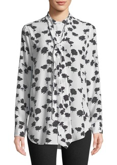 Equipment Carleen Tie-Neck Floral-Print Silk Blouse