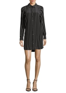 Equipment Carmine Silk Striped Shirtdress