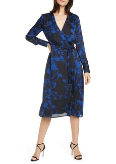 Equipment Cherylene Floral Long Sleeve Wrap Dress