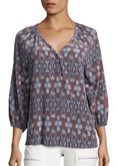 Equipment Colby Kimono Ikat Print Silk Blouse