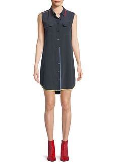 Equipment Contrast-Trim Signature Slim Silk Dress