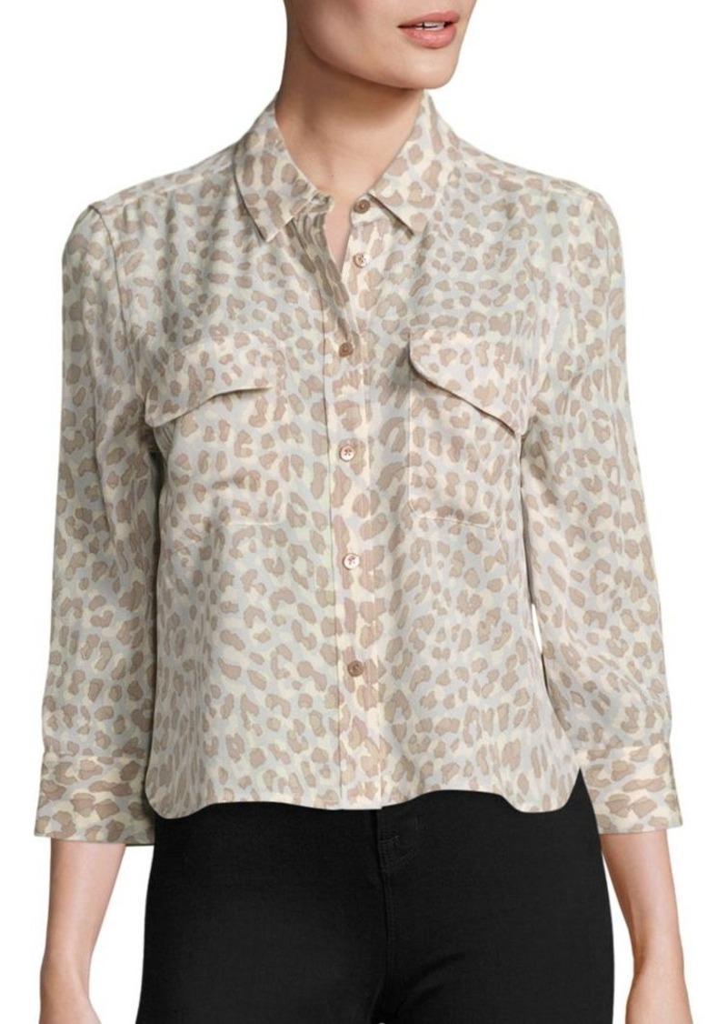Equipment equipment cropped signature leopard print silk for Equipment signature silk shirt