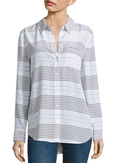 Equipment Daddy Striped Long Silk Blouse