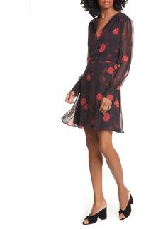 Equipment Danette Floral Long Sleeve Silk Georgette Dress