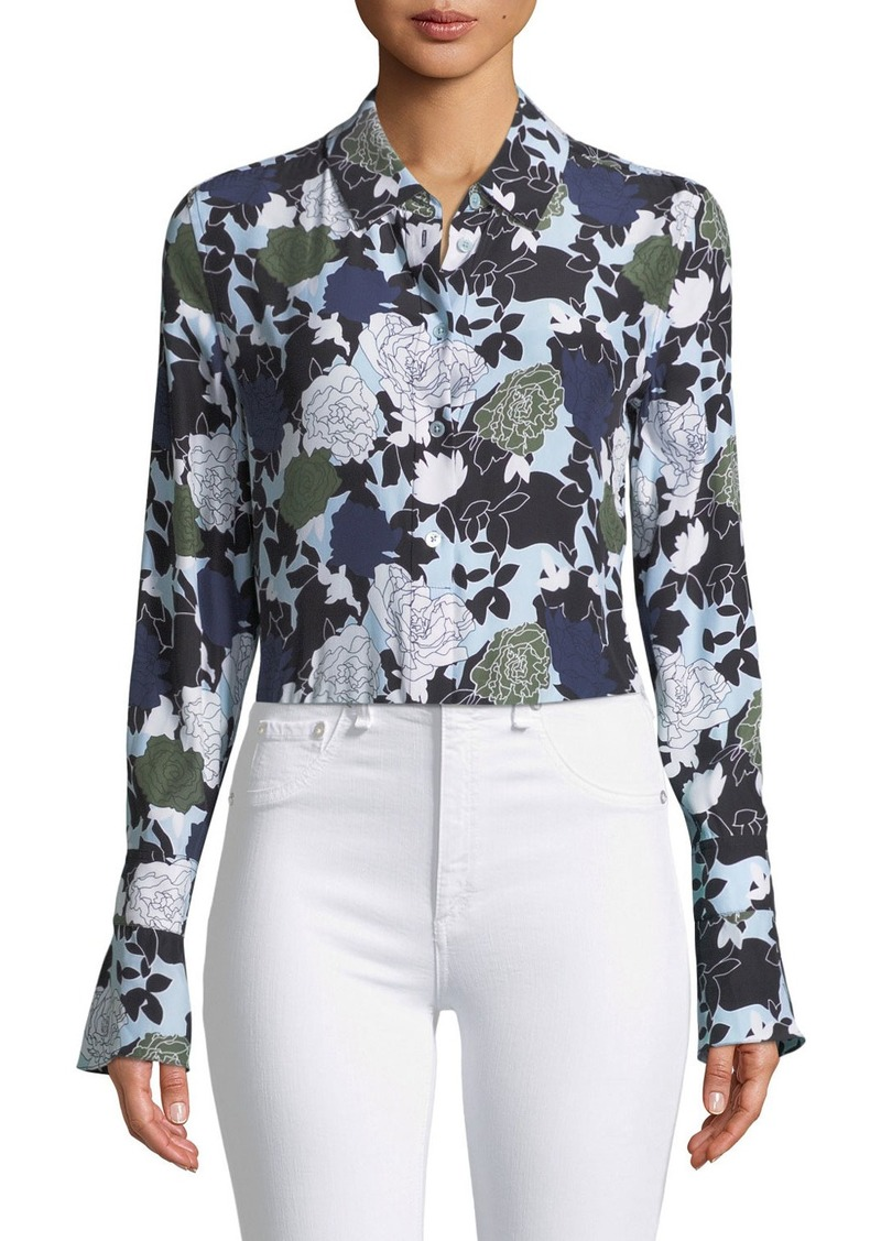Equipment Equipment Daphne Button Front Long Sleeve Floral Print