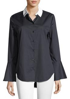 Equipment Darla Button-Front Flare-Cuff Poplin Shirt