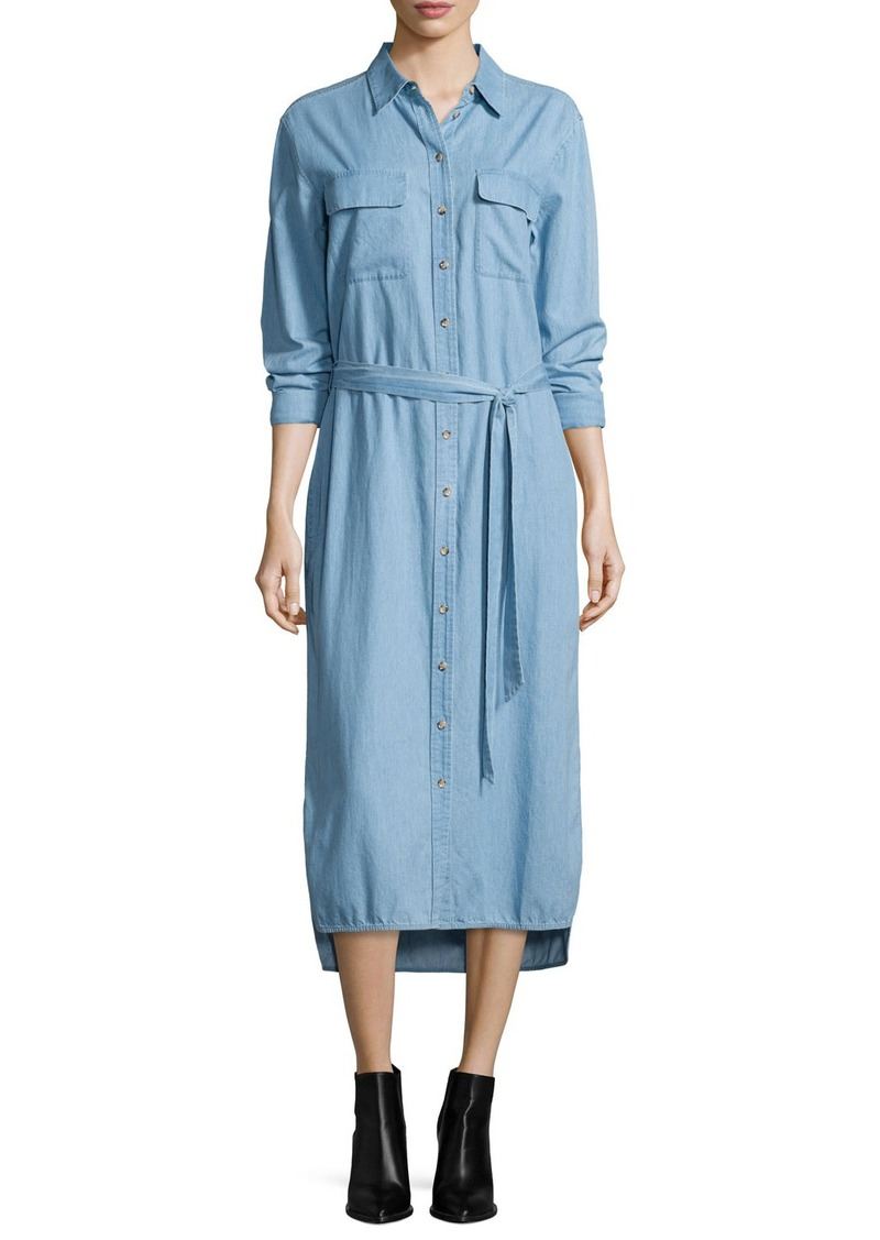 Equipment Delany Button-Front Belted Shirtdress