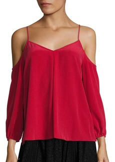 Joie Eclipse Silk Cold-Shoulder Blouse