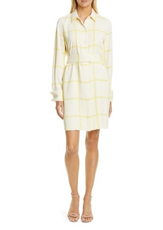 Equipment Edwidge Windowpane Check Long Sleeve Shirtdress
