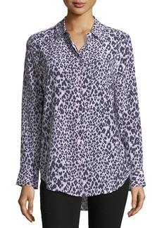 Equipment Essential Long-Sleeve Leopard-Print Silk Blouse