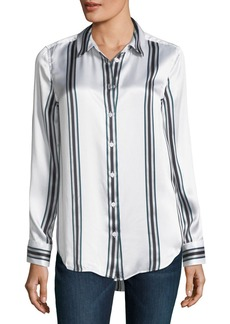 Equipment Essential Long-Sleeve Striped Silk Blouse
