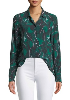 Equipment Essential Palm Leaf-Print Silk Shirt