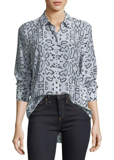 Equipment Essential Snake-Print Button-Front Blouse