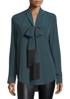 Equipment Essential Tie-Neck Silk Blouse