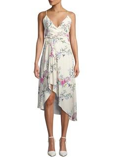 Equipment Estille V-Neck Sleeveless Floral-Print Wrap-Style Dress