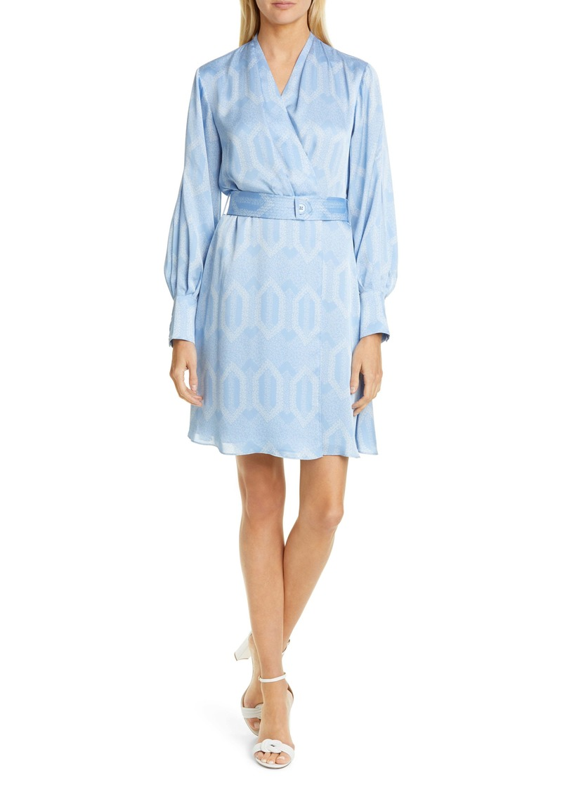 Equipment Fanetta Geo Print Belted Long Sleeve Wrap Dress