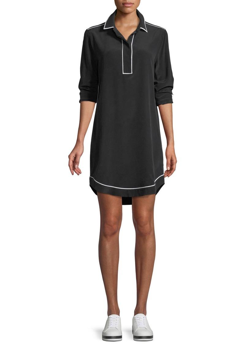 Equipment Felix Contrast-Piping Silk Dress
