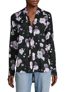 Equipment Floral-Print Hi-Lo Silk Blouse