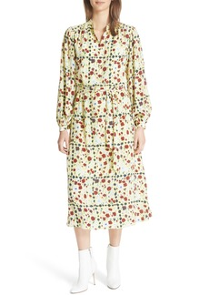 Equipment Floral Silk Midi Dress