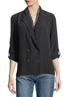 Equipment Frances Double-Breasted Silk Jacket Blouse with Lace Trim