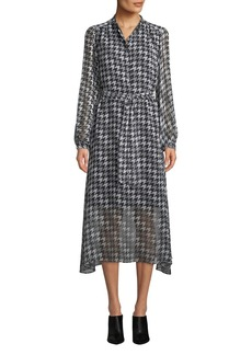Equipment Francois Silk Houndstooth Midi-Length Shirtdress