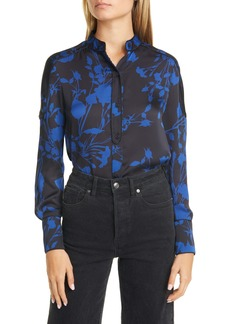 Equipment Garland Floral Print Long Sleeve Silk Shirt