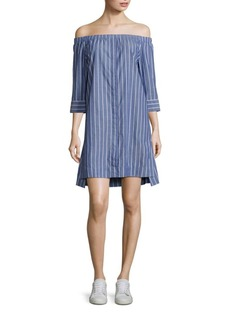 Equipment Gretchen Cotton Off-The-Shoulder Dress
