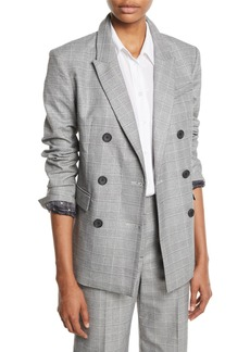 Equipment Hamish Double-Breasted Check Blazer w/ Contrast Lining