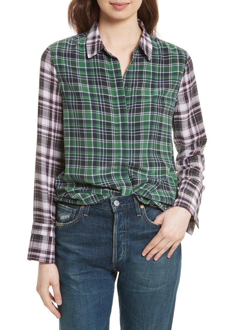 3ca8d819c34d28 Equipment Equipment Holly Colorblock Plaid Silk Shirt