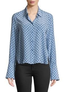 Equipment Huntley Dot-Print Silk Boyfriend Crop Shirt
