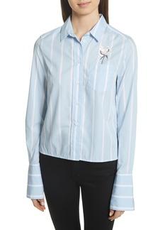Equipment Huntley Embroidered Stripe Cotton Shirt