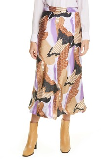 Equipment Iva Print Silk Midi Skirt