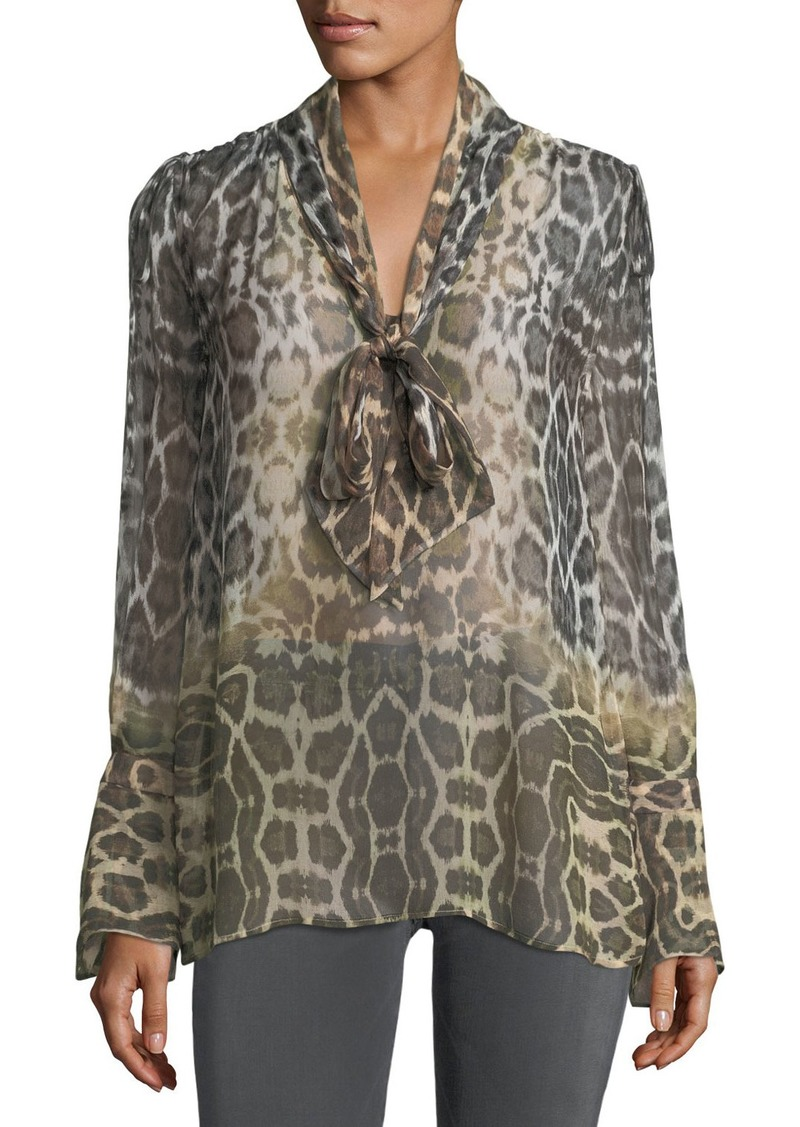 6f91cf972afe Equipment Jacqueleen Tie-Neck Long-Sleeve Leopard-Print Chiffon Blouse