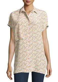 Equipment Jaime Floral-Print Cap-Sleeve Blouse