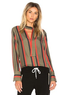 Equipment Janelle Stripe Blouse in Dark Green. - size L (also in M,S,XS)