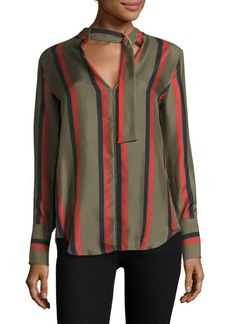 Equipment Janelle Striped Buckle Tie Silk Blouse