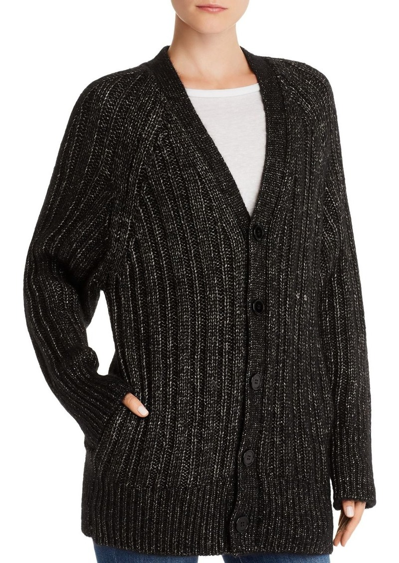 Equipment Jeannane Metallic Ribbed Cardigan
