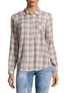 Joie Jerrie Casual Button-Down Cotton Plaid Shirt
