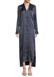 Equipment Johanna Stripe Silk Maxi Shirtdress