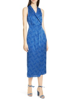 Equipment Katherine Geo Print Sleeveless Satin Midi Dress