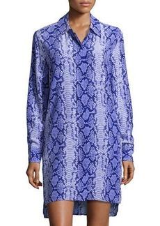 Equipment Kerry Snake-Print Silk Shirtdress