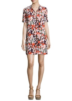 Equipment Knox Camo Short-Sleeve Lace-Up Silk Dress