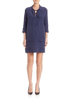 Equipment Knox Lace-Up Silk Dress